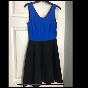 Black and blue date night dress with gold zipper